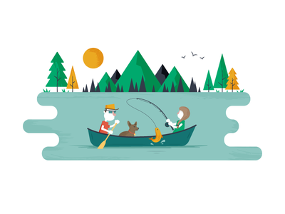 Save the Date outdoors canoe fishing textures invite illustration characters wedding vector