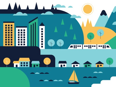 The Light Rail  mountains city buildings houses infographic vector illustration train