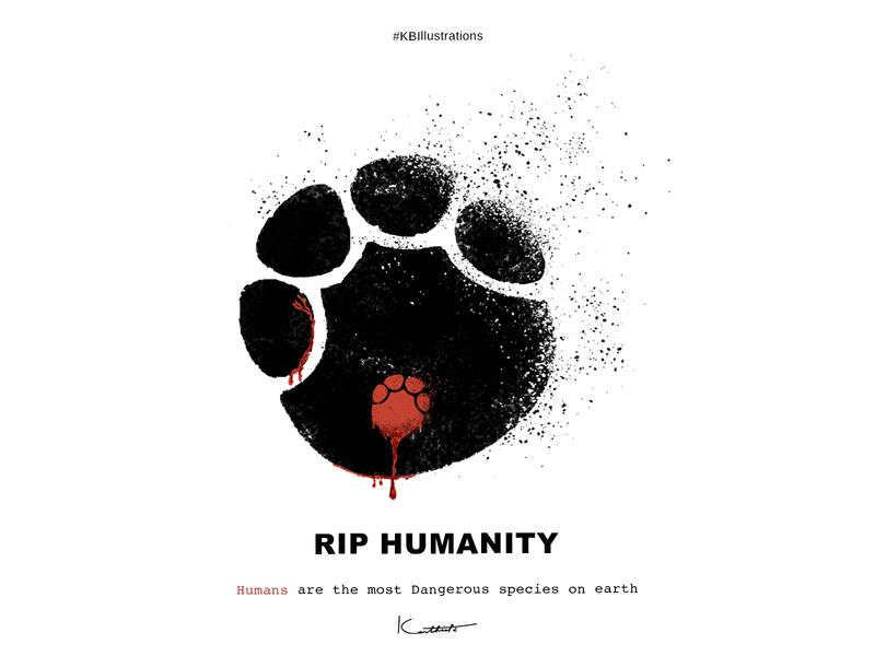 RIP Humanity illustrations kbillustrations designing design of the day vector illustration shamefulhumans justice for elephant ripelephant riphumanity