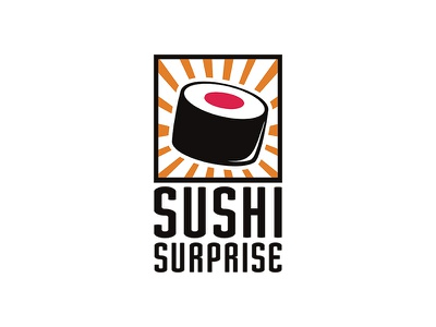 Sushi Surprise japanese brand surprise graphic food sushi design logo