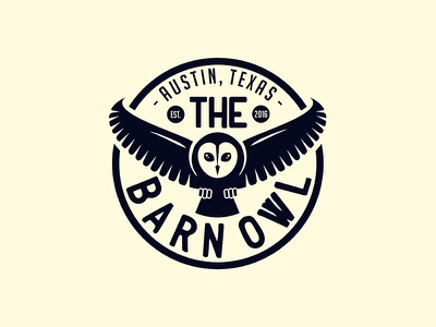 The Barn Owl minimal illustration texas austin round badge owl design logo