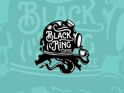 Black Ring Coffee ocean sea nautical white black design logo vintage divehelmet octopus coffee