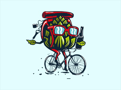 Hop On A Bike art illustration bicycle brewery bike beer hop