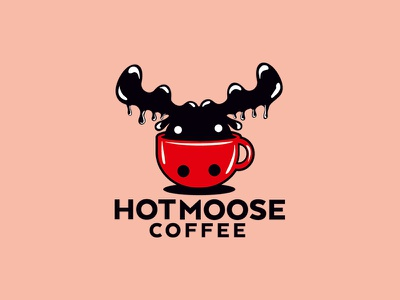Hot Moose Coffee bold logo red mug caffeine moose hot deer coffe