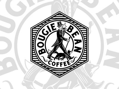 Bougie Bean Coffee suit old fox white black design logo vintage tophat gentleman coffee