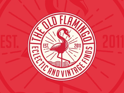 The Old Flamingo funiture circle vintage flamingo design badge logo