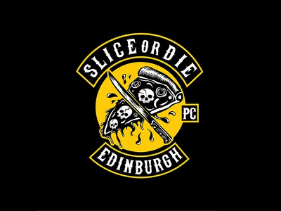 Slice Or Die skull slice pizzaslice design logo gang motorbike motor knife vintage pizza