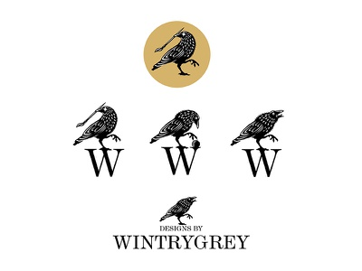 Wintrygrey white black vintage design brand logo crow wintrygrey