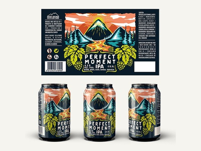 Perfect Moment IPA nature river mountain design package can hop beer craft