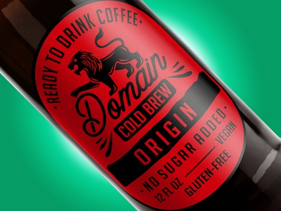 Domain Cold Brew - Origin design package label red lion coffee brew cold