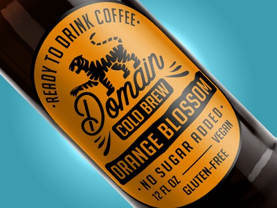 Domain Cold Brew - Orange Blossom yellow package tiger label design cold coffee brew