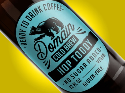 Domain Cold Brew - Hop Toddy turquoise bear package label design cold coffee brew