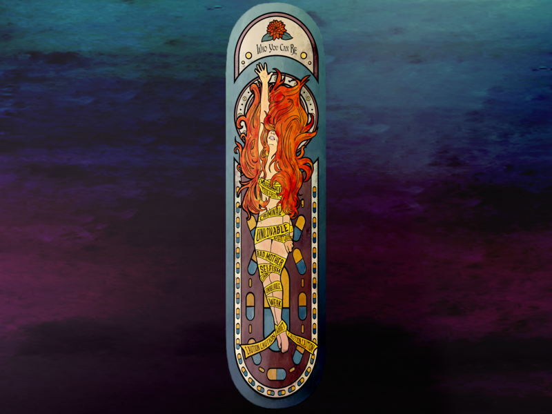 Art Nouveau Skateboard Design drawing skateboard design woman pills lotus flower struggle opioid addiction watercolor student project art nouveau illustation skateboard deck skateboarddesign