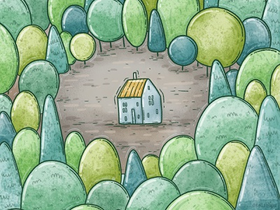 in the woods alone cute house cabin green trees forest woods illustration