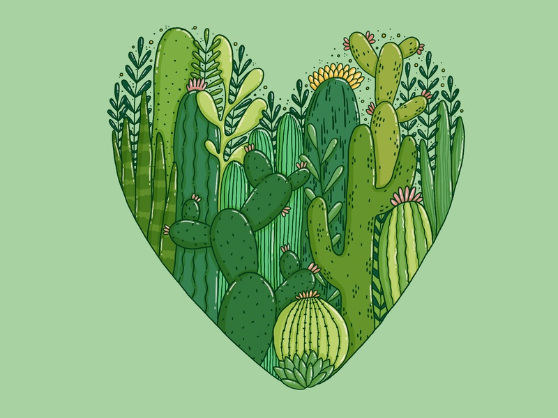 Prickly heart prickly love garden tropical succulents gardening green plants heart cactus illustration