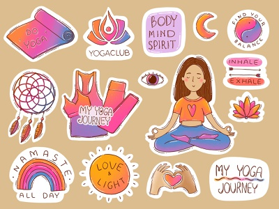 Sticker set for YogaClub love dreamcatcher yoga mat eye bright colors yoga pose woman peaceful meditation yinyang namaste hand drawn illustraion yoga stickers sticker design