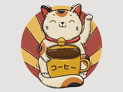 Coffee Maneki-neko tshirt design traditions cute red and yellow japanese cat maneki neko manekineko lucky cat coffee cat illustration