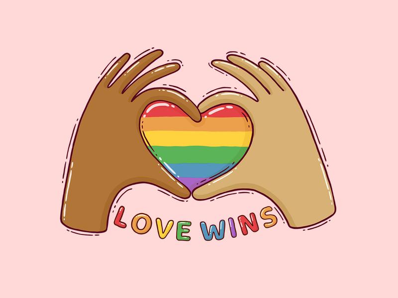 love wins together united lgbtq lgbtqia pride flag pride colors love heart hands pride 2020 pride month pride love is love love wins illustration drawing digital art 2d