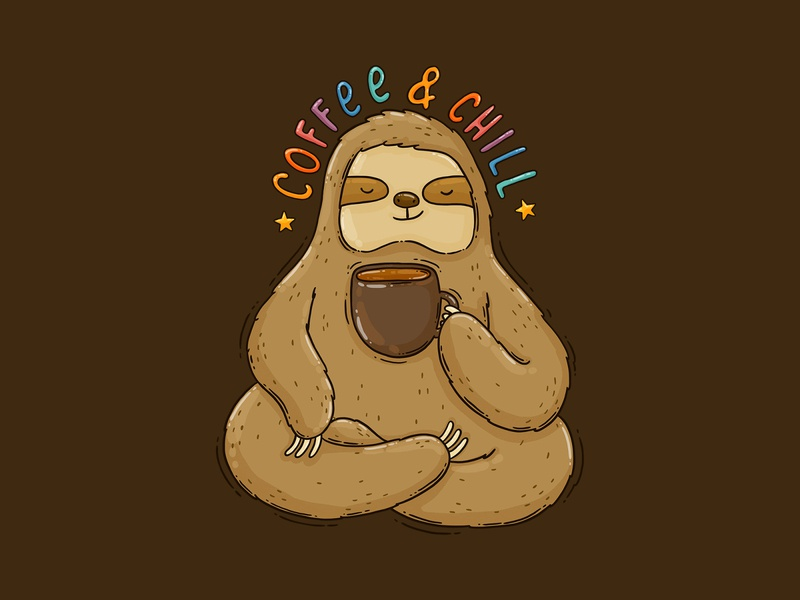 Coffee & Chill 2d drawing digital art illustrations coffee cup wild animal relaxed sloth and coffee apparel design print design illustration coffee sloth
