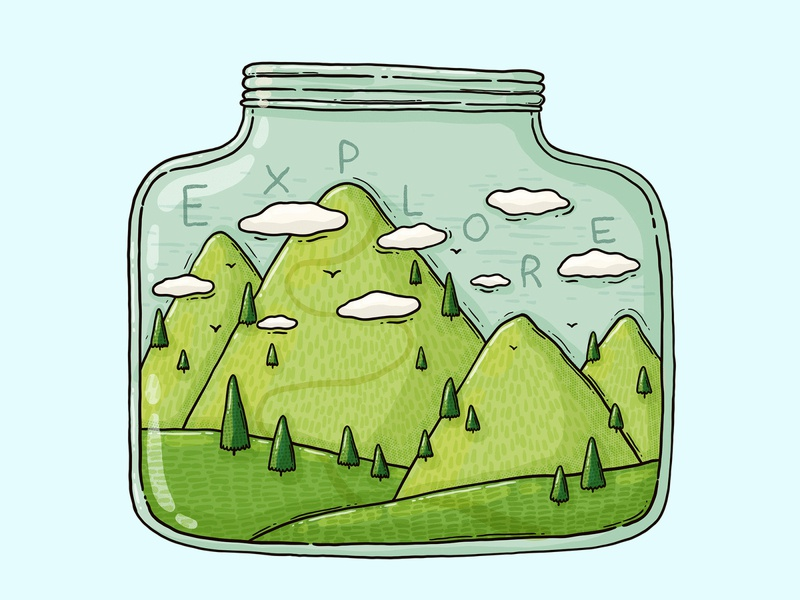 Explore Jar travel summer adventure clouds mountains green nature jar explore