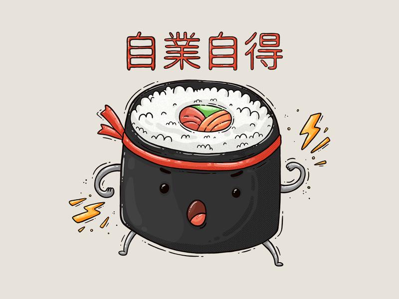 Sushi Samurai digital art 2d illustration sushi roll 自業自得 saying character food japanese food japanese samurai sushi