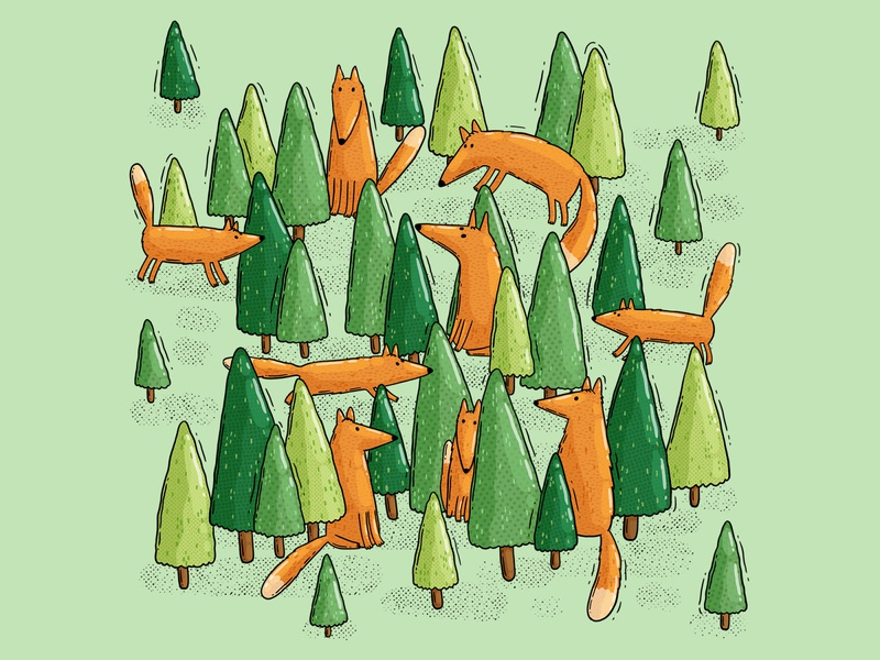 Foxy Forest summer pines hide and seek green woods forest foxy fox illustration