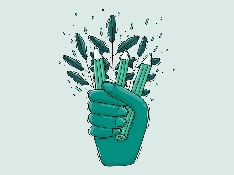Crafty Hand print design green hold leaves pencil hand illustration