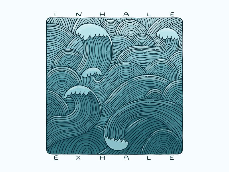 Inhale Exhale calm t shirt design blueprint inhale exhale ocean blue waves sea
