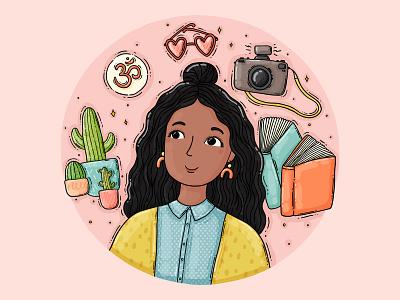 Aashi occupation hobbies books om photocamera avatar user profile girl cacti illustrated portrait custom commission commission open portrait drawing digital art illustration