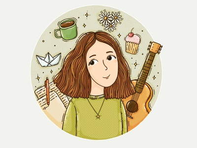 Kate interests occupation hobby girl writing paperboat muffin coffee guitar illustrated portrait profile picture user pic commision work commission custom portrait digital illustration