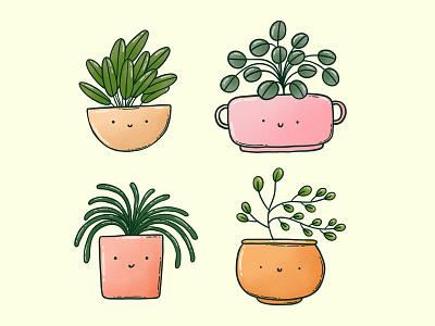 plant buddies green apparel design print cute potted indoor plant plants plant illustration