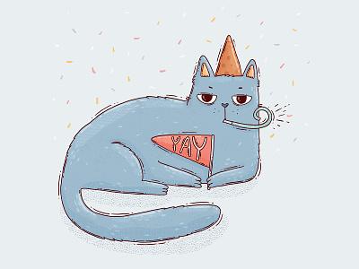Moody Yay cat moody pet celebration hbd yay congratulations happy birthday cat illustration