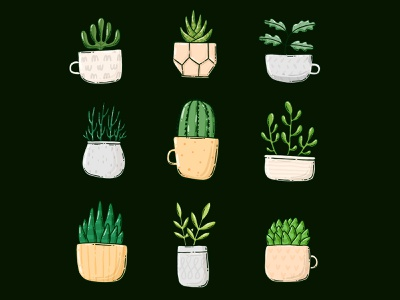 Plants in pots and mugs plant indoor plants handdrawn 2d tshirt design greenery illustration potted plant green cactuses plants