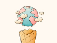Ice Cream Planet planet earth vanilla floating illustraion clouds planet ice cream cone ice cream