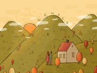 Wander textures traveling september fall hills sunset outdoors nature mountains explore adventure wander illustration