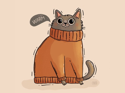 Warm peachtober textures pet big eyes cute auburn autumnal fall sweater warm chonk cat illustration