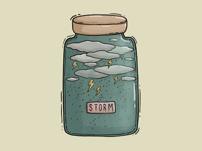 Storm label textures illustraion rain jar clouds flashlight storm