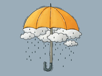 Rain drops moody clouds rainy rain yellow umbrella umbrella drawing 2d digital art illustration