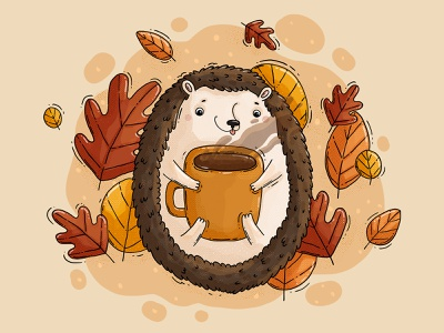 Warm Hedge warm big mug cup coffee leaves autumn fall hedgehog 2d illustration