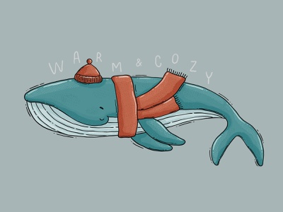 Warm & Cozy letters textured winter underwater mammal cozy warm hip scarf beanie blue whale ocean sea whale cute art drawing 2d digital art illustration