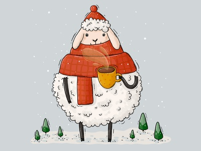 Warm Sheep snow coffee mug cup hat beanie scarf winter warm festive sheep 2d digital art illustration