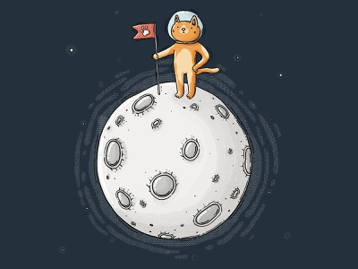 space cat space moonlight achiever proud ginger cat orange tabby meow paw explorer start cosmoc cosmic outerspace moonshine moon cat drawing 2d digital art illustration