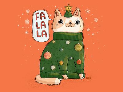 falala cat 2d pet chonky meow animal big eyes sweater ornaments glowy snow holidays festive cat xmas bright and merry falala illustration