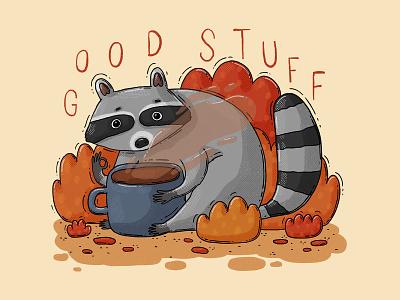 Good Stuff 2d bushes autumnal coffee animal good stuff caffeine trash panda raccoon illustration