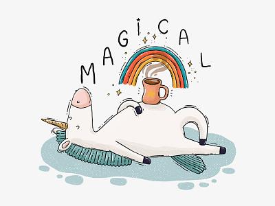 Magical 2d animal testures illustration horn coffee sparkles rainbow magic horse magical unicorn
