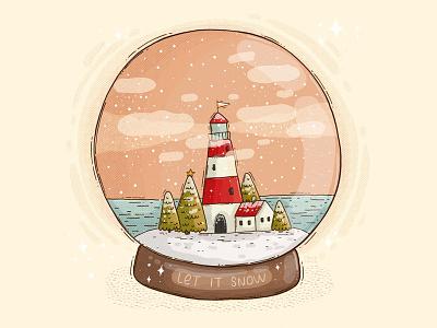 Lighthose Snow Globe digital art 2d illustration let it snow trees holidays festive winter snow globe sea lighthouse