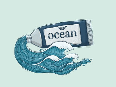 Ocean Paint Tube texture contemporary paint tube tube water nautical blue waves sea ocean illustration