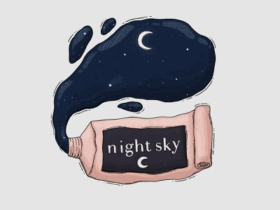 Night Sky Paint Tube texture imaginary starts moon squeeze night sky paint tube illustration