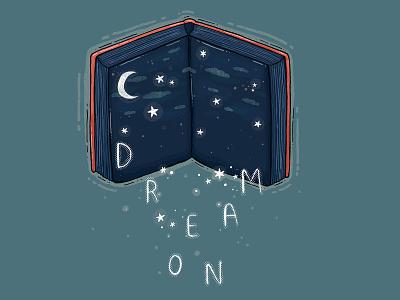 Dream On illustration digital art 2d testures dream on dream moon stars open book book