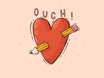 Ouch! valentine day lovely heart you can buy it art is hard pencil ouch heart illustration